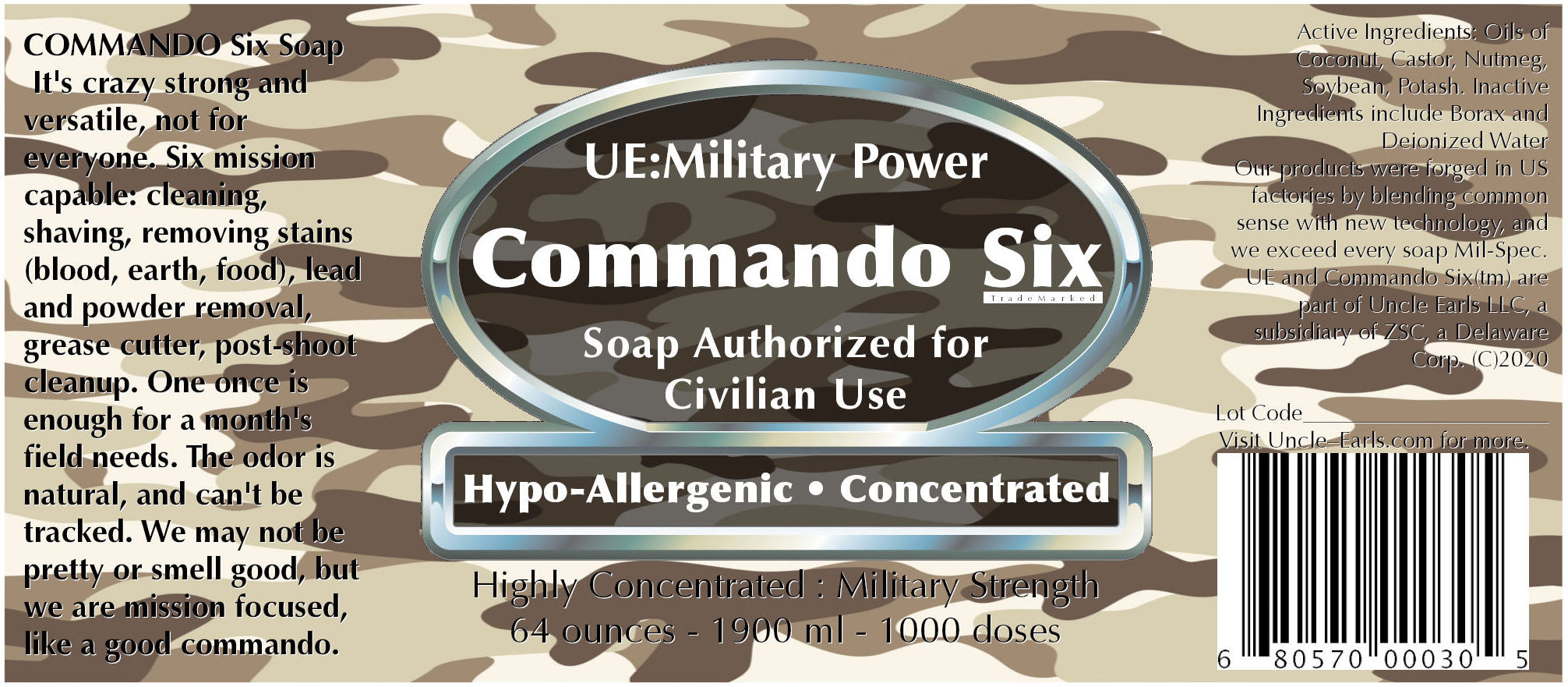 Commando Six Soap label