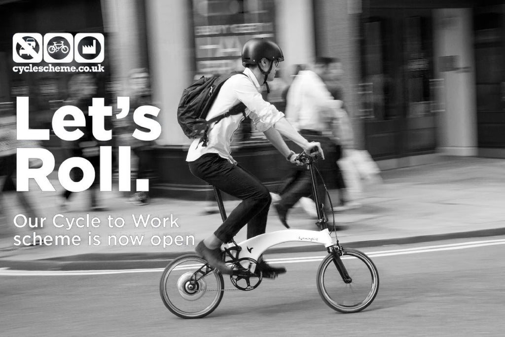 Cyclescheme poster - black and white image of man riding electric bike