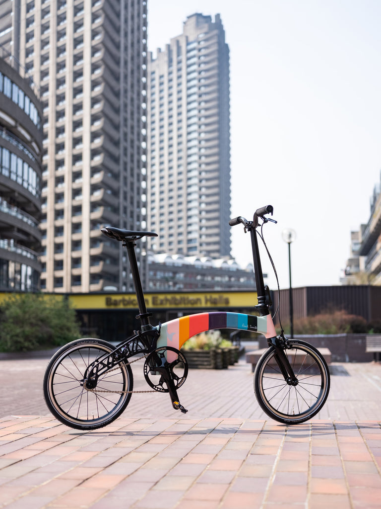 Hummingbird electric bike x Paul Smith in front of the Barbican, London