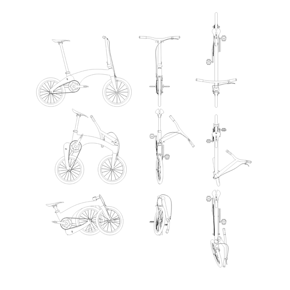Electric folding bike diagram