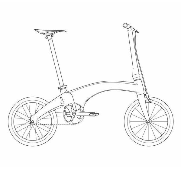 Drawing of Hummingbird bike side on