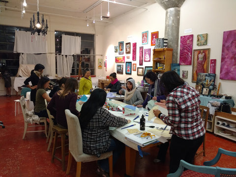 womxn participating in an art workshop in Cynthia Tom's Studio at 1890 Bryant St. 302, San Francisco, CA