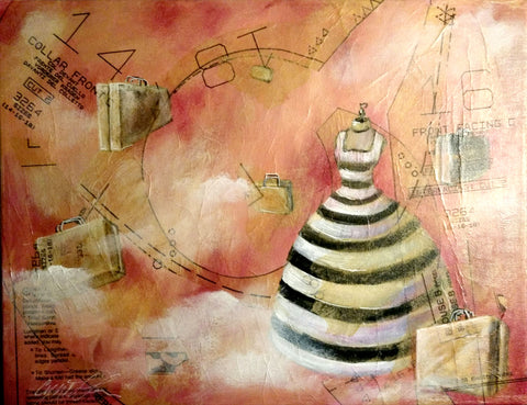 Painting of black and white striped dress floating through the pink air with suitcases.
