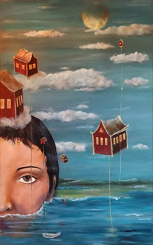 Heading Home - Swimming in Intuition - acrylic on canvas-Cynthia Tom, San Francisco