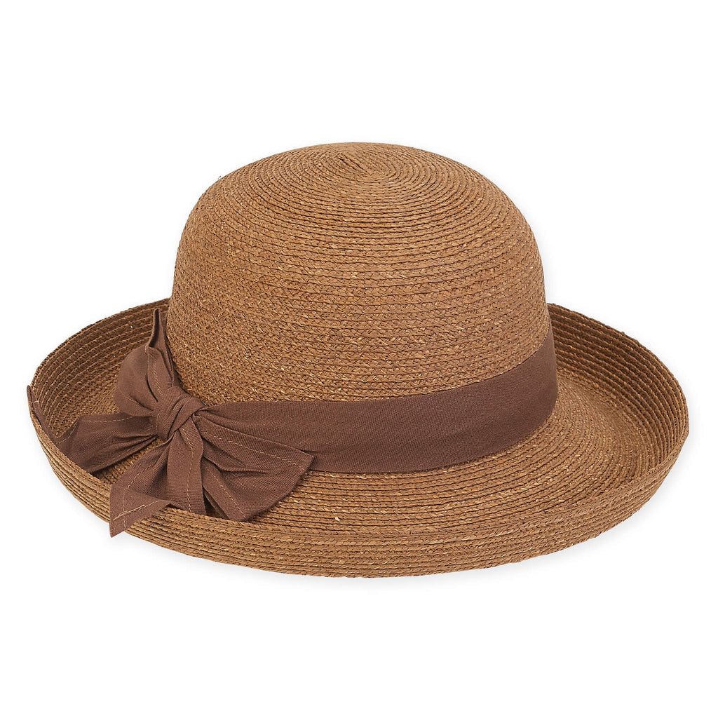 Crocheted Hat in Brown with Brown Cloth Trim by Sun and Sand