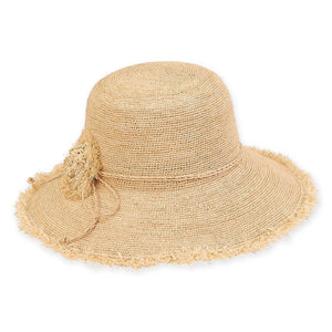 Wide Brim Hat with Crocheted Flower in Natural by Sun and Sand