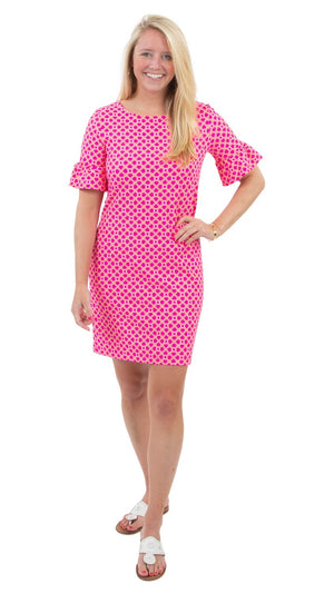 Dockside 3/4 sleeved Dress in Pink/orange Bamboozled