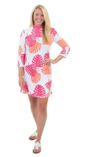 Molly Bow Back Dress 3/4 sleeve in HotPink/Salmon Dancing Palms