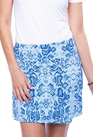 Faux wrap Print Skort in Iggy Denim by IBKUL