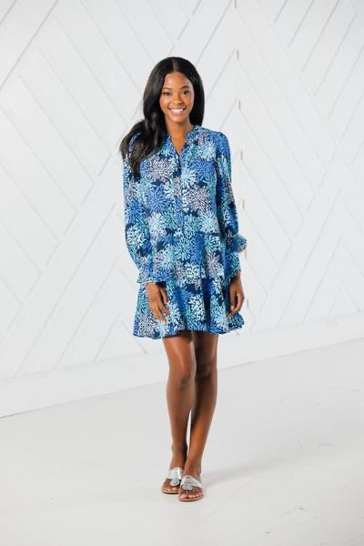 Long Sleeved Flutter Hem Dress by Sail to Sable