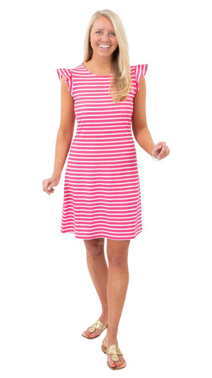 Jojo Dress in Summer Stripe HotPink/White by Sailor Sailor