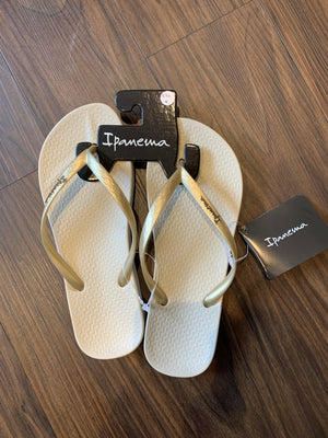 Ana Flip Flops in Beige/Gold by Ipanema
