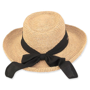 Natural Rafia Hat in Natural/black by Sun and Sand