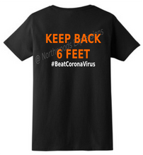 Load image into Gallery viewer, #BeatCoronaVirus Social Distancing Black T-Shirt KEEP BACK 6 FEET