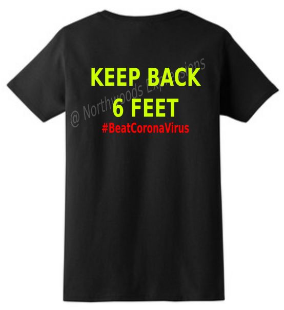 #BeatCoronaVirus Social Distancing Black T-Shirt KEEP BACK 6 FEET