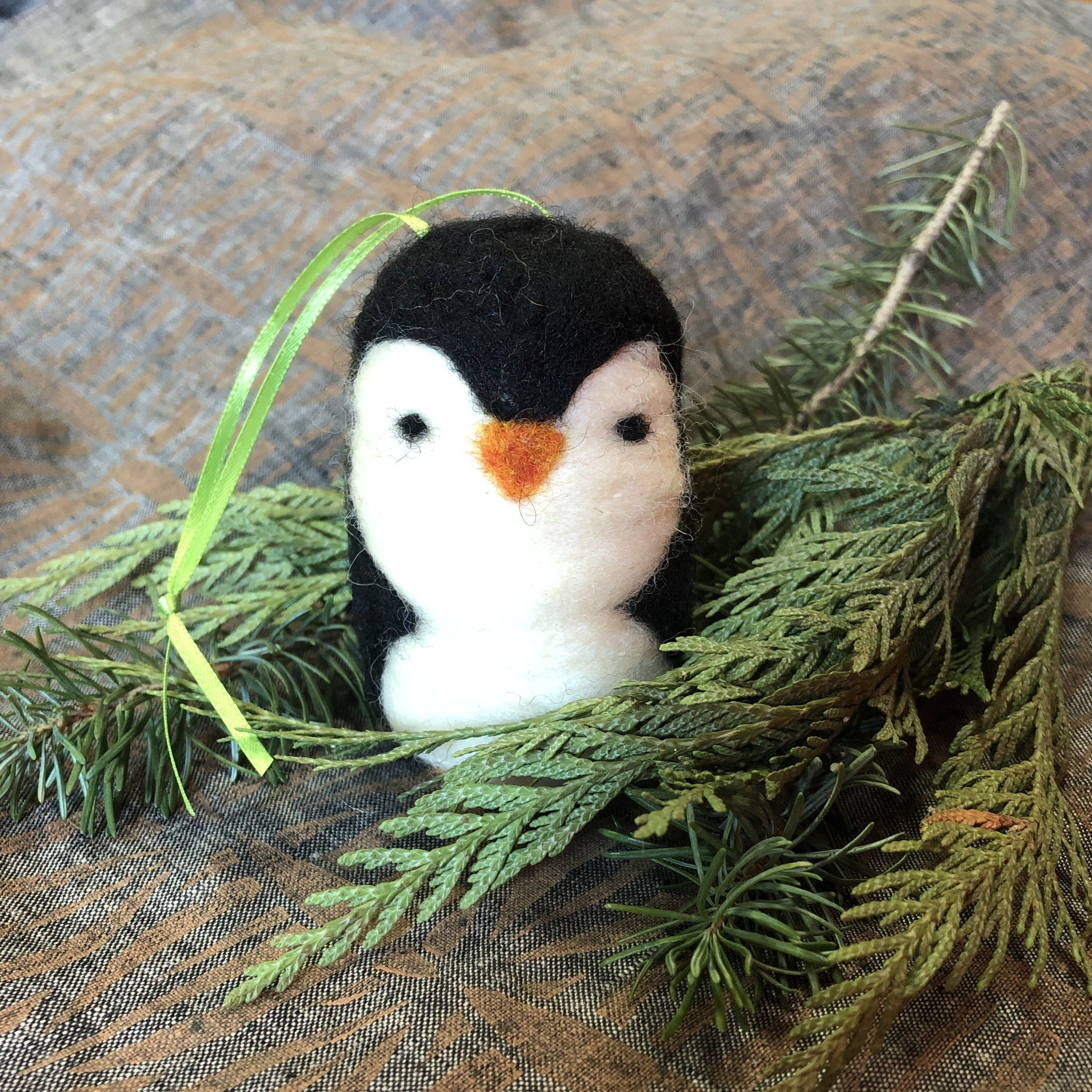 Felted Penguin Ornament
