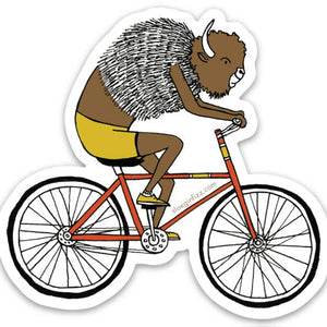 Bison on a Bike Sticker