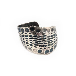 Silver Hammered Border Ring