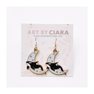 Gold Celestial Orca Earrings