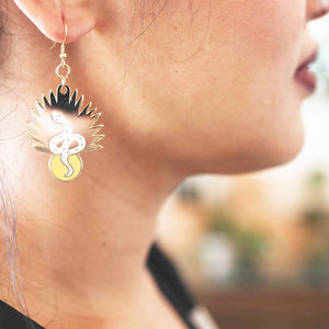 Gold Palm Snake Earrings
