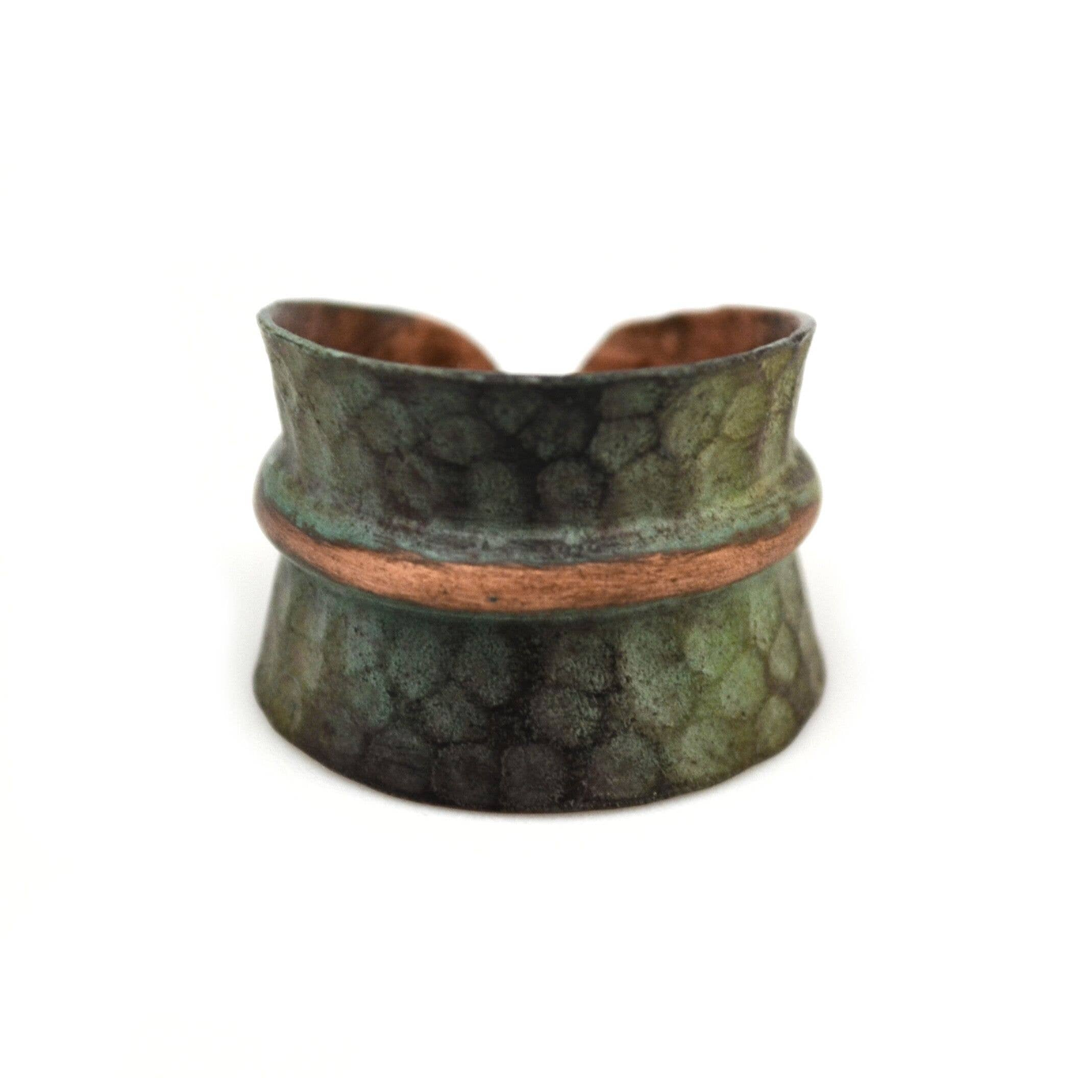 Hammered Copper Patina Ring