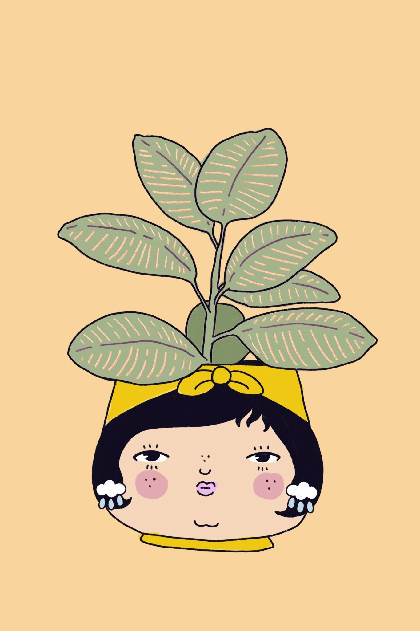 Rubber Tree Plant People 4x6 Print