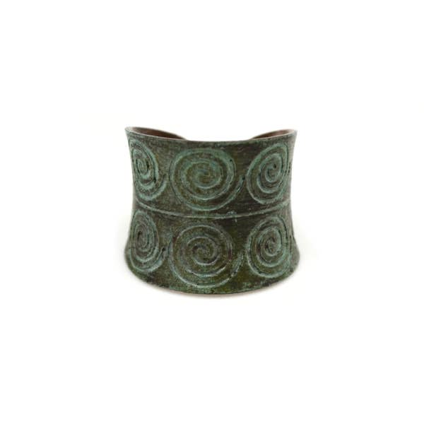 Spirals Copper Patina Ring