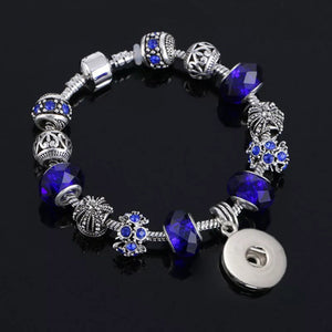 "7"" Metal and Dark Blue Faceted Bead Bracelet for 18mm Snaps"