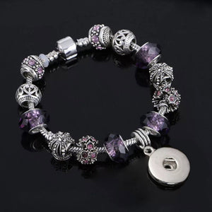 "7"" Metal & Purple Faceted Bead Bracelet for 18mm Snaps"