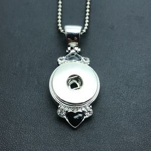 18mm Silver Tone Pendant with Black Hearts on a Chain Necklace