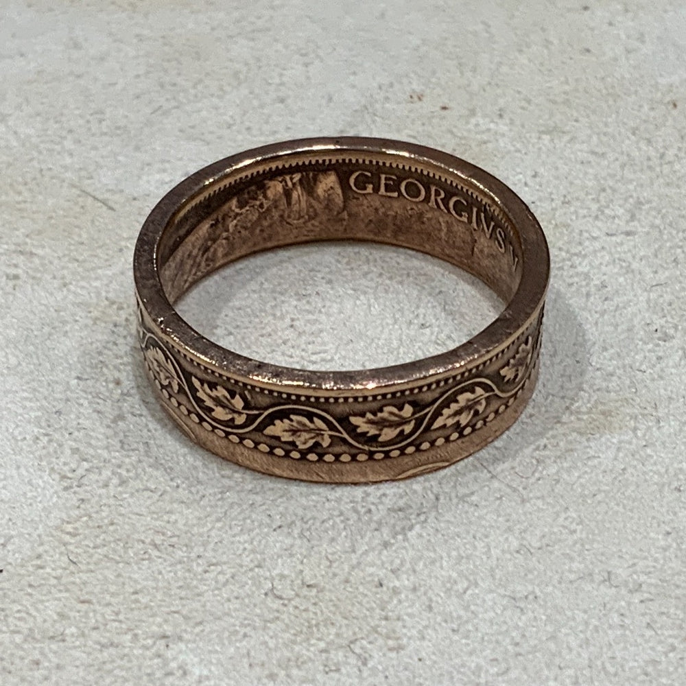 Handmade Coin Ring Canadian Leaf size 9 1/2