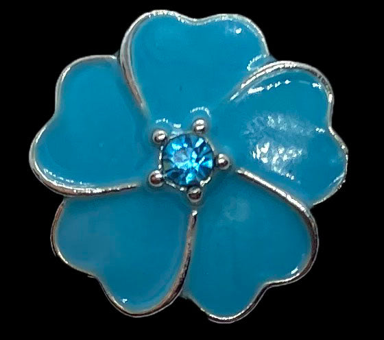 18mm Blue Flower Snap with Blue Rhinestone Center