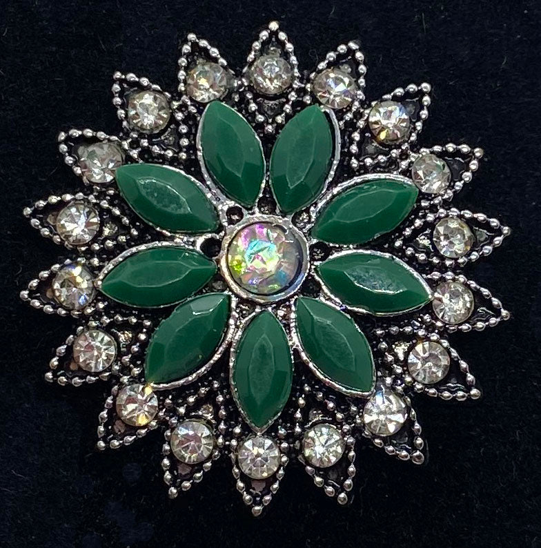 22mm Green Flower with Rhinestones Snap