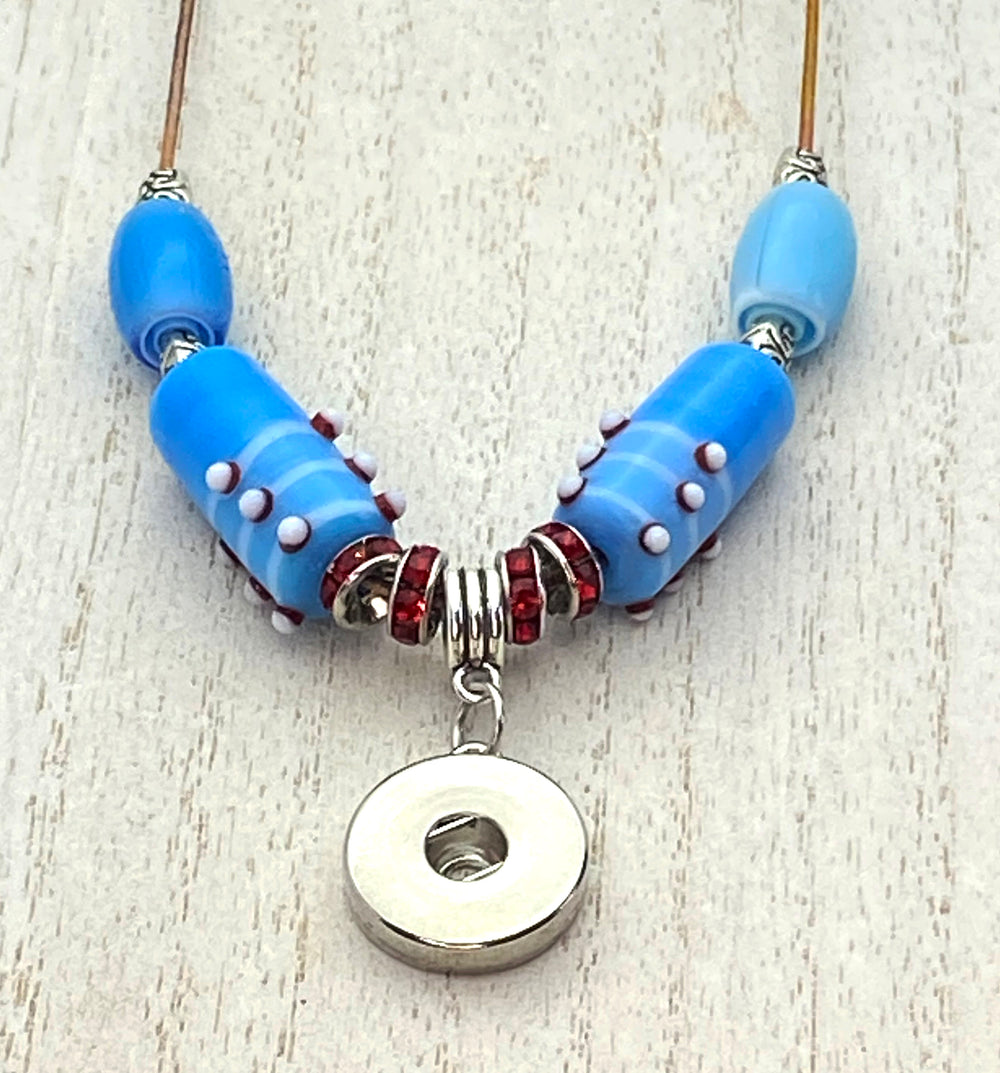 SPECIAL ORDER Handmade Adjustable Metal and Ceramic Beaded Necklace for 18mm Snaps