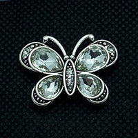 18mm Snap Butterfly with Clear Crystals