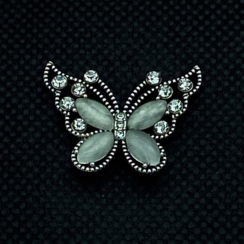 18mm Snap White Butterfly and Rhinestones