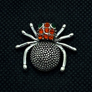 18mm Silver Tone Spider with Red Rhinestone Head