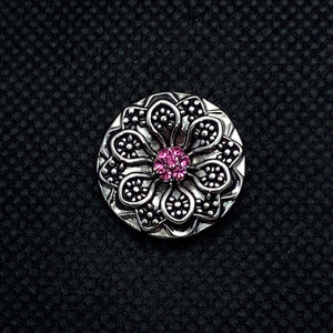 18mm Vintage Silver Tone Flower Snap with Pink Crystal