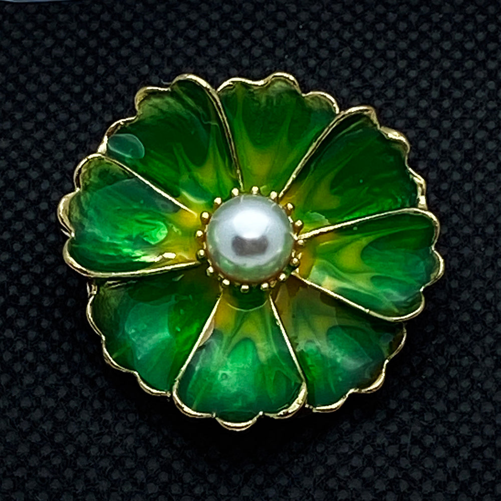 20mm Green Enamel Gold Tone Flower Snap with Pearl