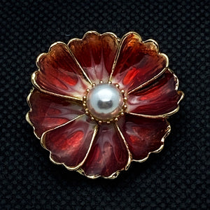 20mm Red Enamel Gold Tone Flower Snap with Pearl