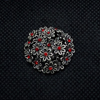 20mm Silver Tone Flower Bouquet with Red Rhinestones