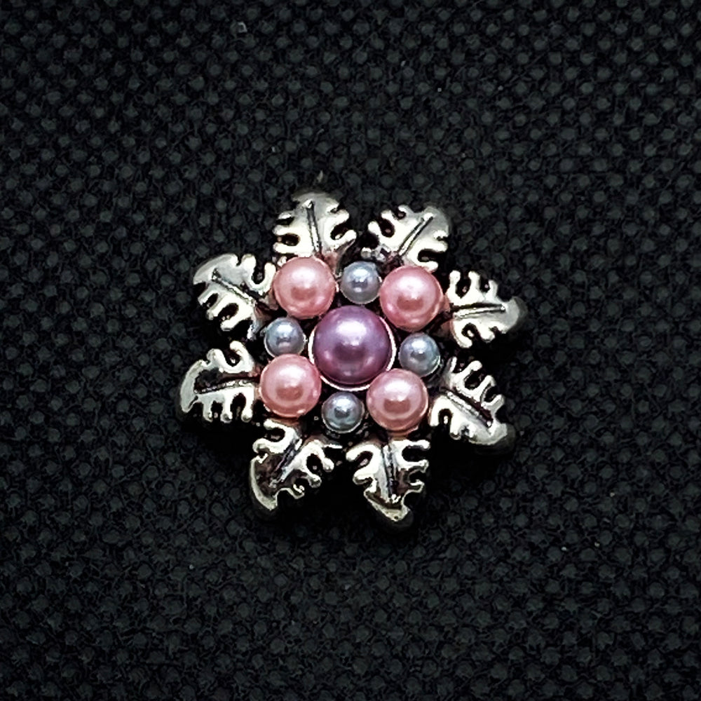 18mm Silver Tone Flower Snap with Pink Pearls