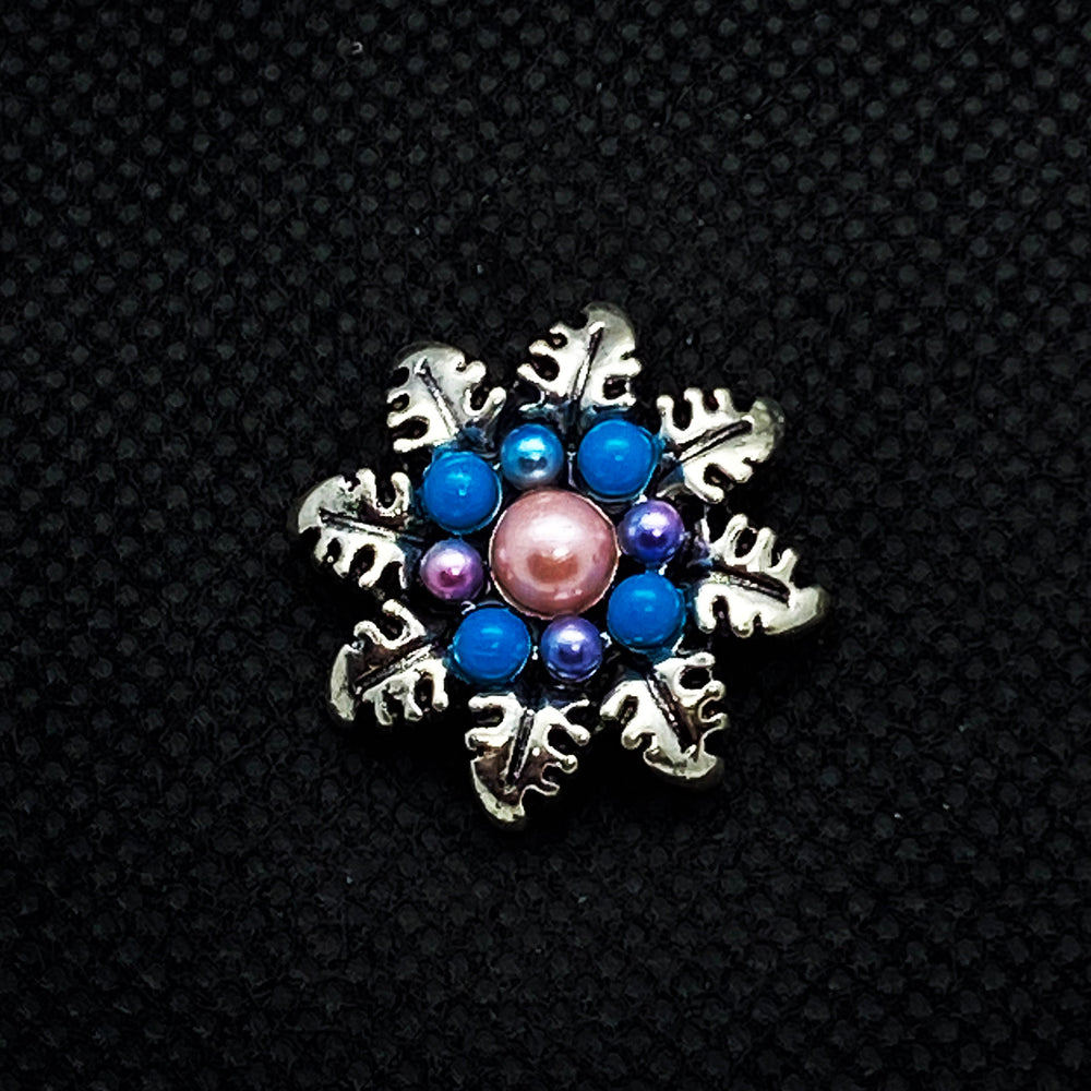 18mm Silver Tone Flower Snap with Pink and Blue Pearls