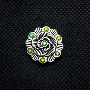 18mm Silver Tone Flower Snap with Iridescent Rhinestones