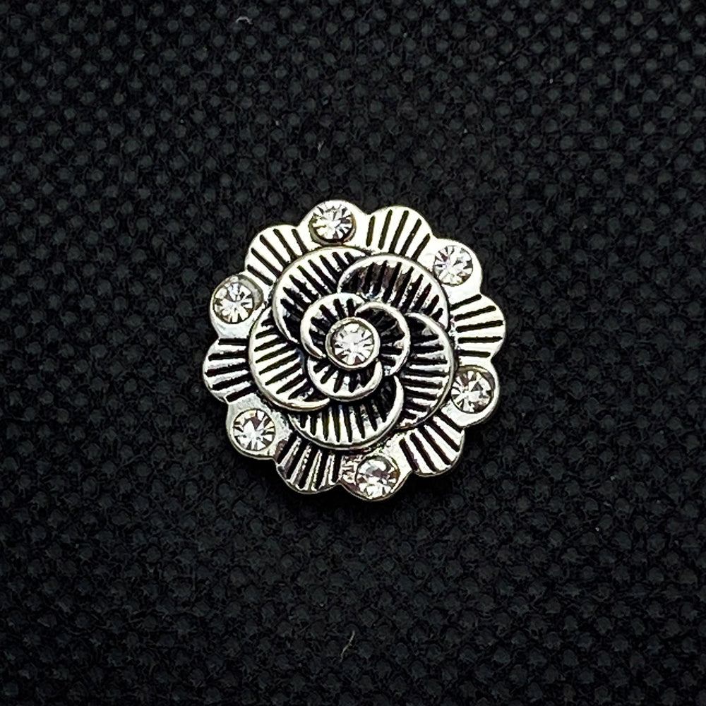18mm Silver Tone Flower Snap with White Rhinestones