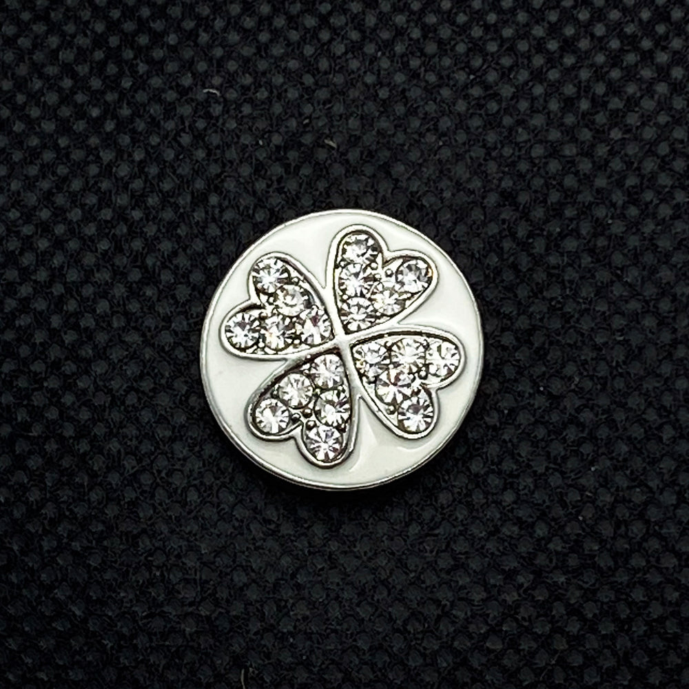 18mm White Rhinestone Four Leaf Clover Snap on White Enamel