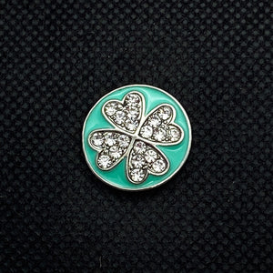 18mm Teal Enamel Four Leaf Clover Snap with Rhinestones