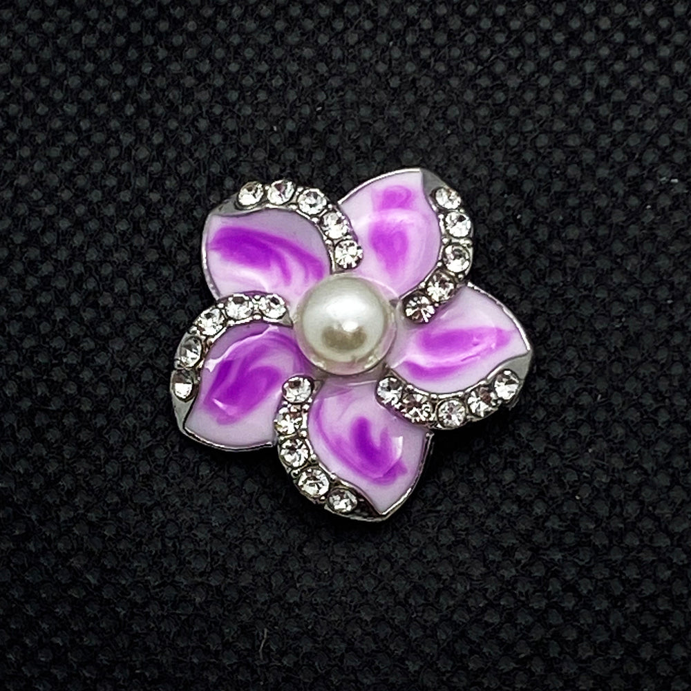 18mm White with Purple Enamel Flower Snap with Pearl Center