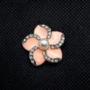 18mm Pink Enamel and Rhinestone Flower Snap with Pearl Center