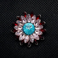 20mm Crystal Flower Snap with Red, Pink and Blue Crystals
